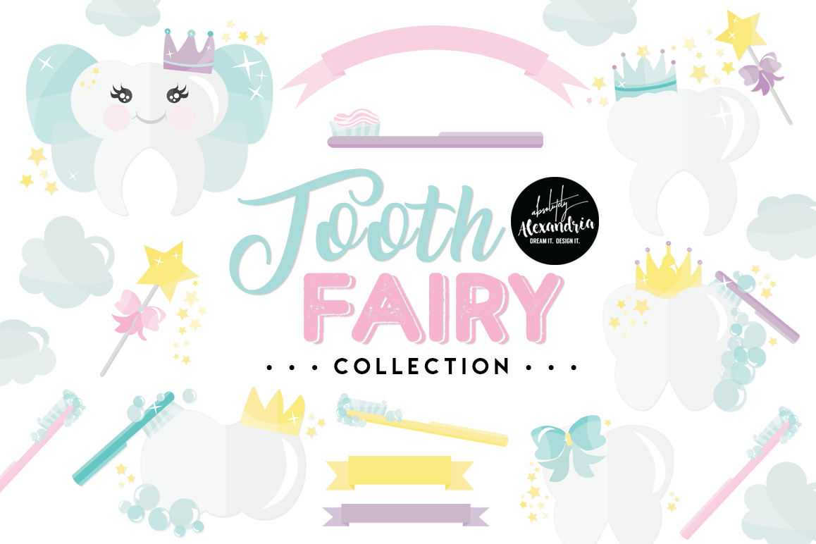 Tooth Fairy Clipart Graphics & Digital Paper Patterns Bundle example image 1