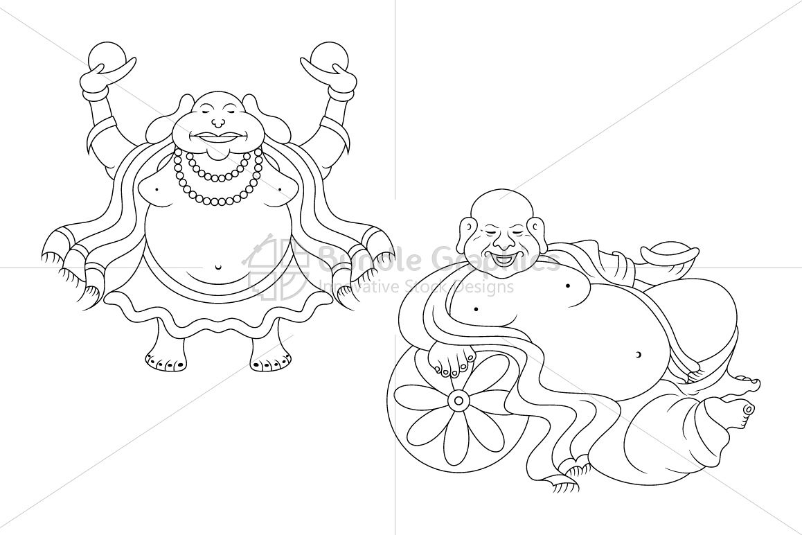 Budai - The Laughing Buddha Characters example image 1