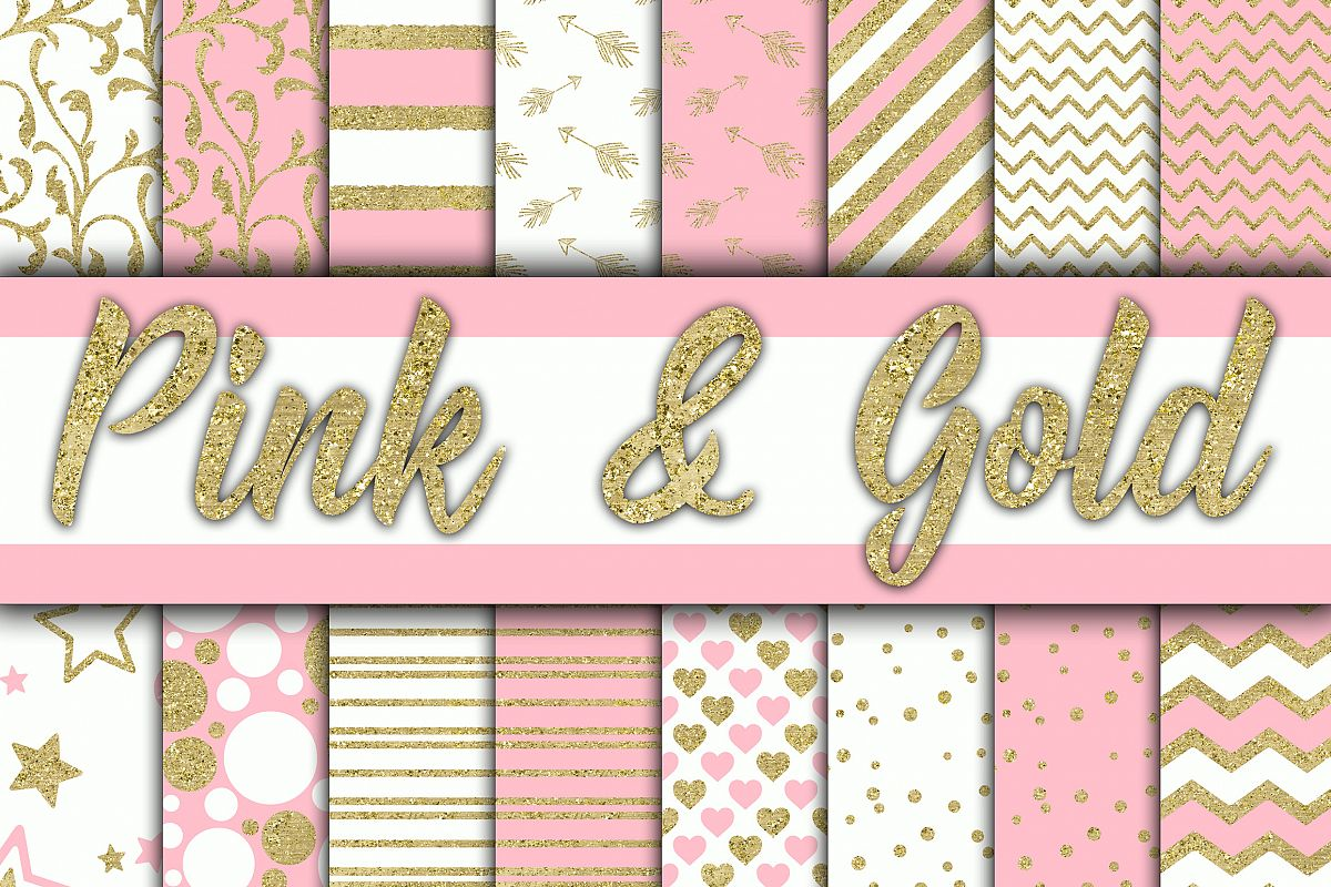 Pink and Gold Digital Paper example image 1