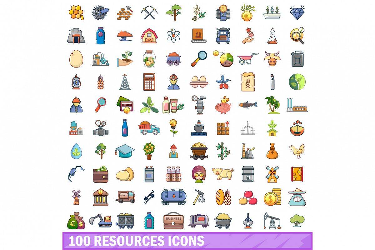 100 resources icons set, cartoon style example image 1