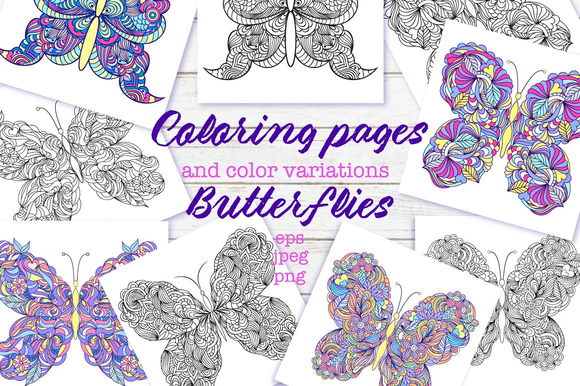 Floral butterflies. Coloring pages. example image 1