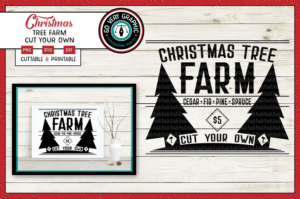 Farmhouse Christmas Tree Farm Sign| SVG | PNG | DXF example image 1
