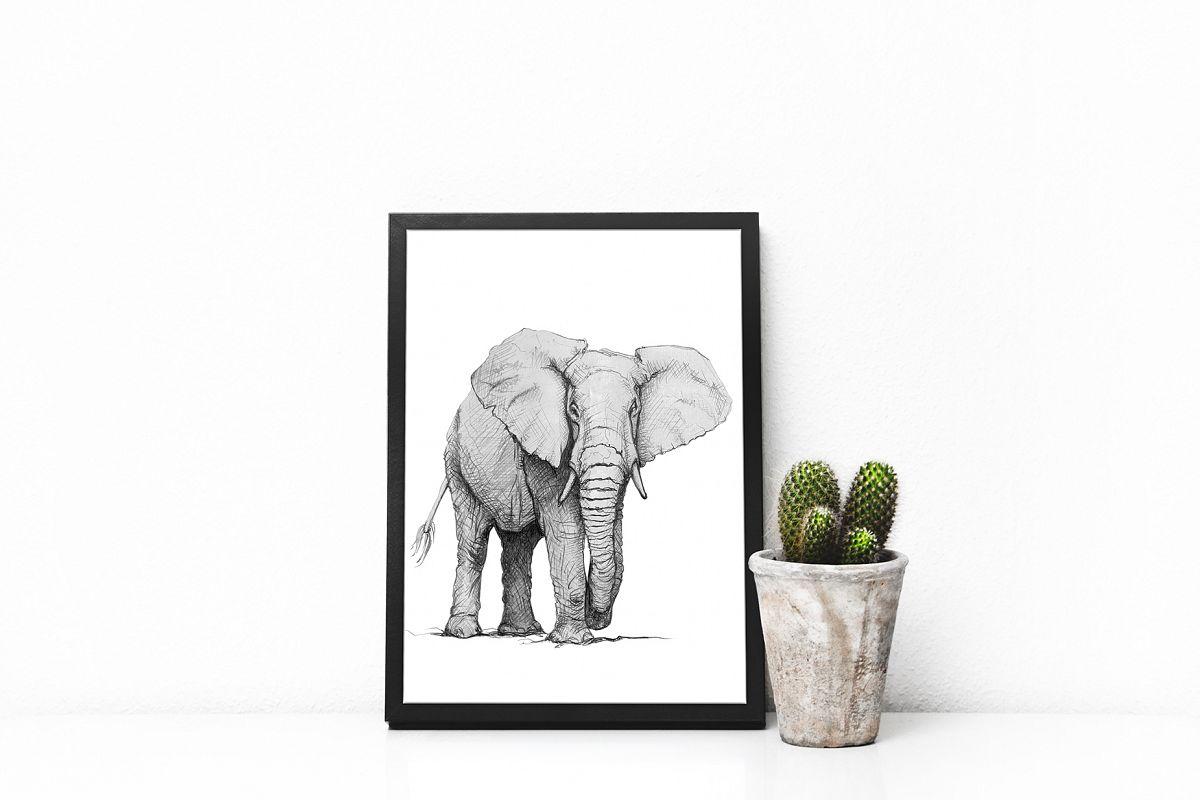 Hand drawn wild Elephant example image 1