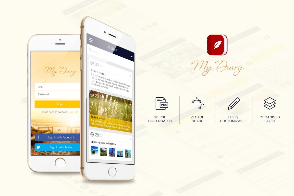 My Diary - UI Mobile Kit example image 1