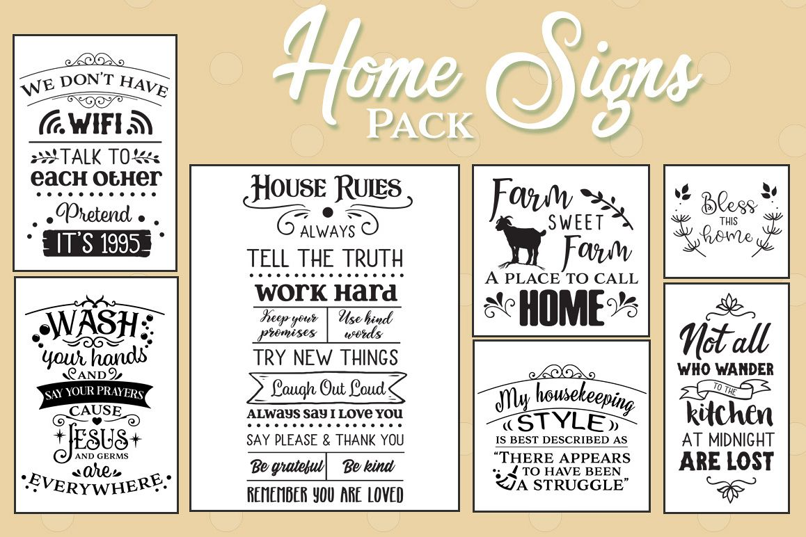 48 Home Signs Pack - Dining SVGs, Living SVGs, Bathroom SVGs example image 1