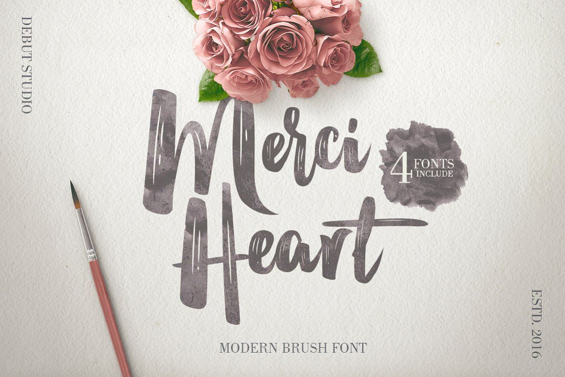 Merci Heart Brush (30% Off) example image 1