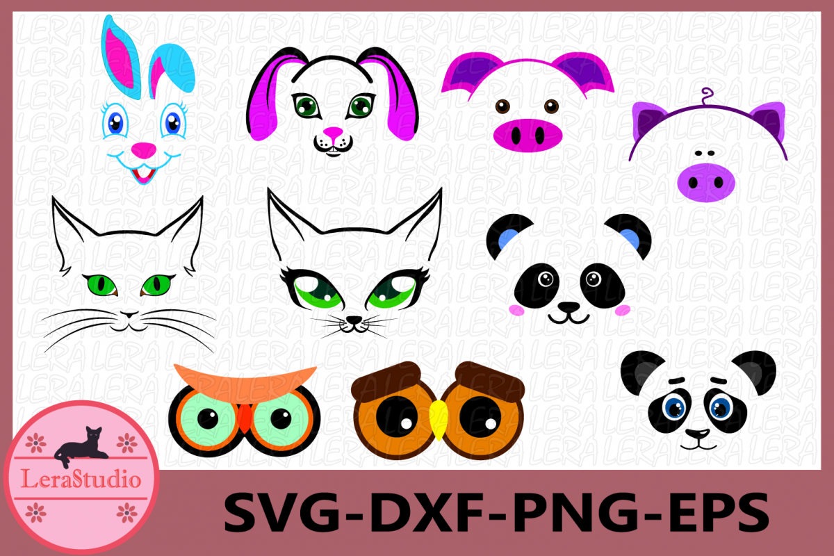 Face Svg, Animal Silhouette, Face Animal Clipart, Face example image 1