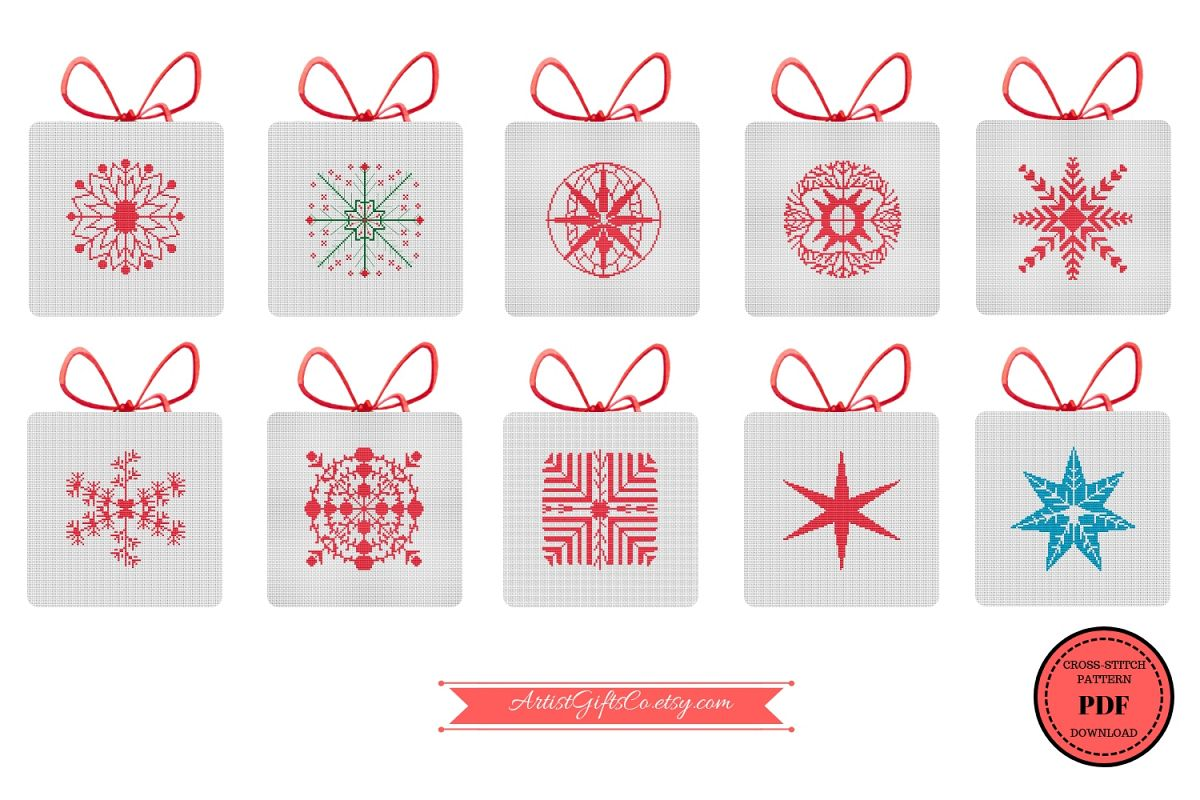 Christmas Series Snowflakes, Counted Cross Stitch Pattern example image 1
