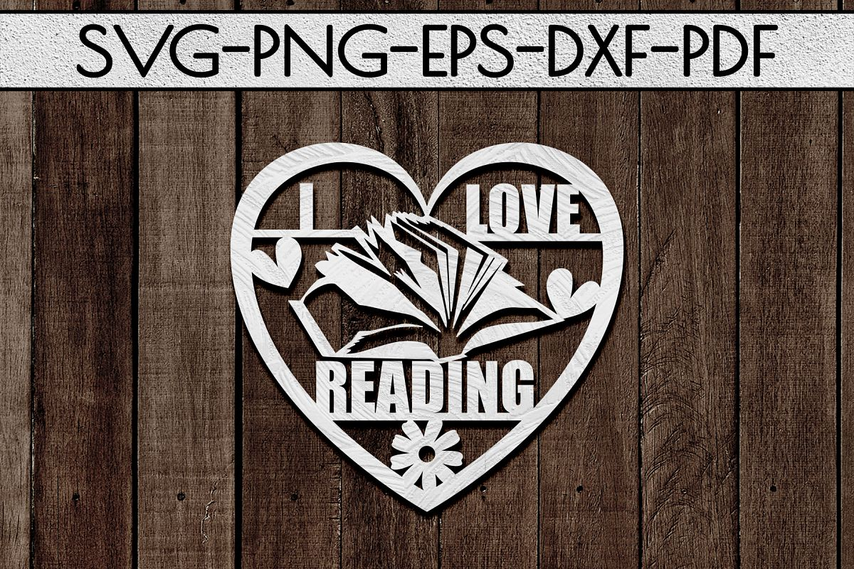 I Love Reading Papercut Template, Bookworm Cut Files, SVG example image 1