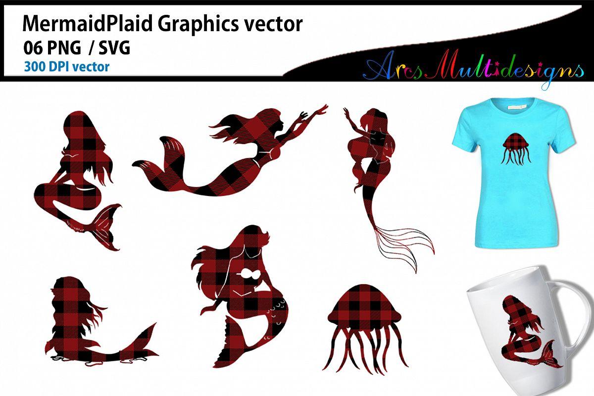Mermaid plaid silhouette / mermaid plaid clipart/ SVG example image 1