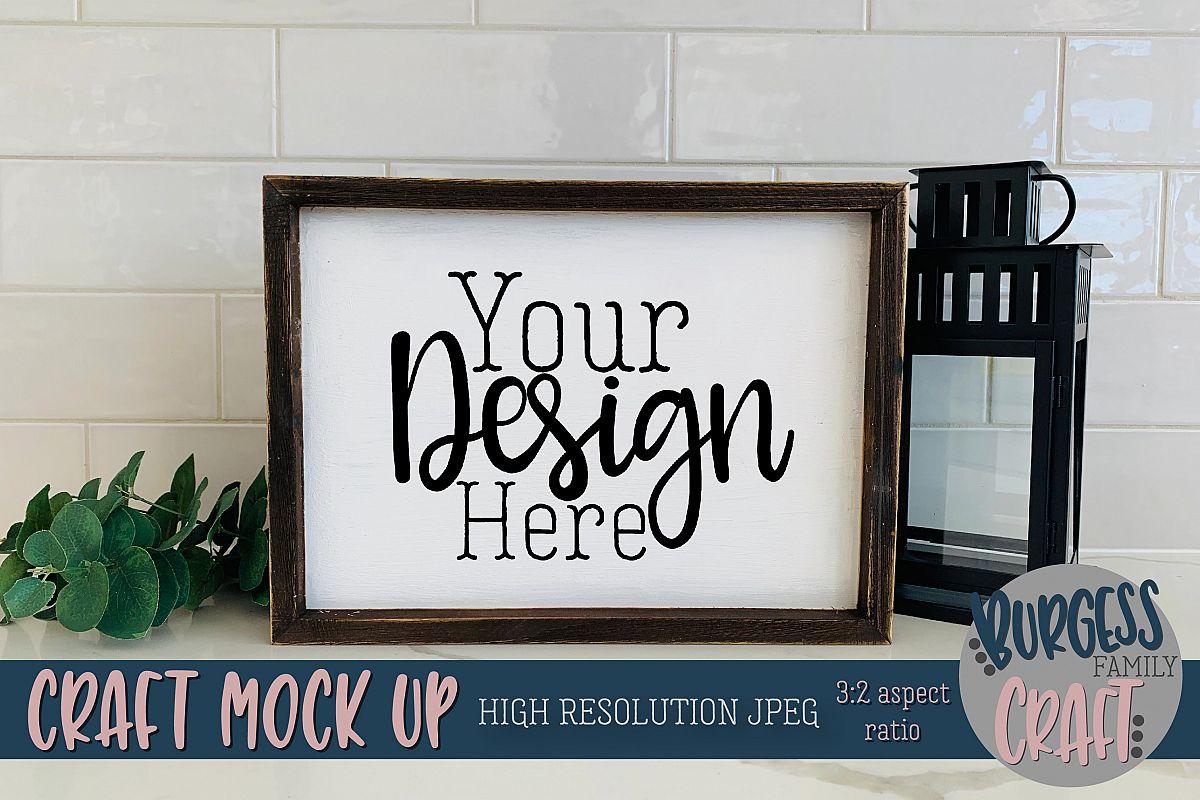 Rustic wood sign landscape Craft mock up |High Res JPEG example image 1