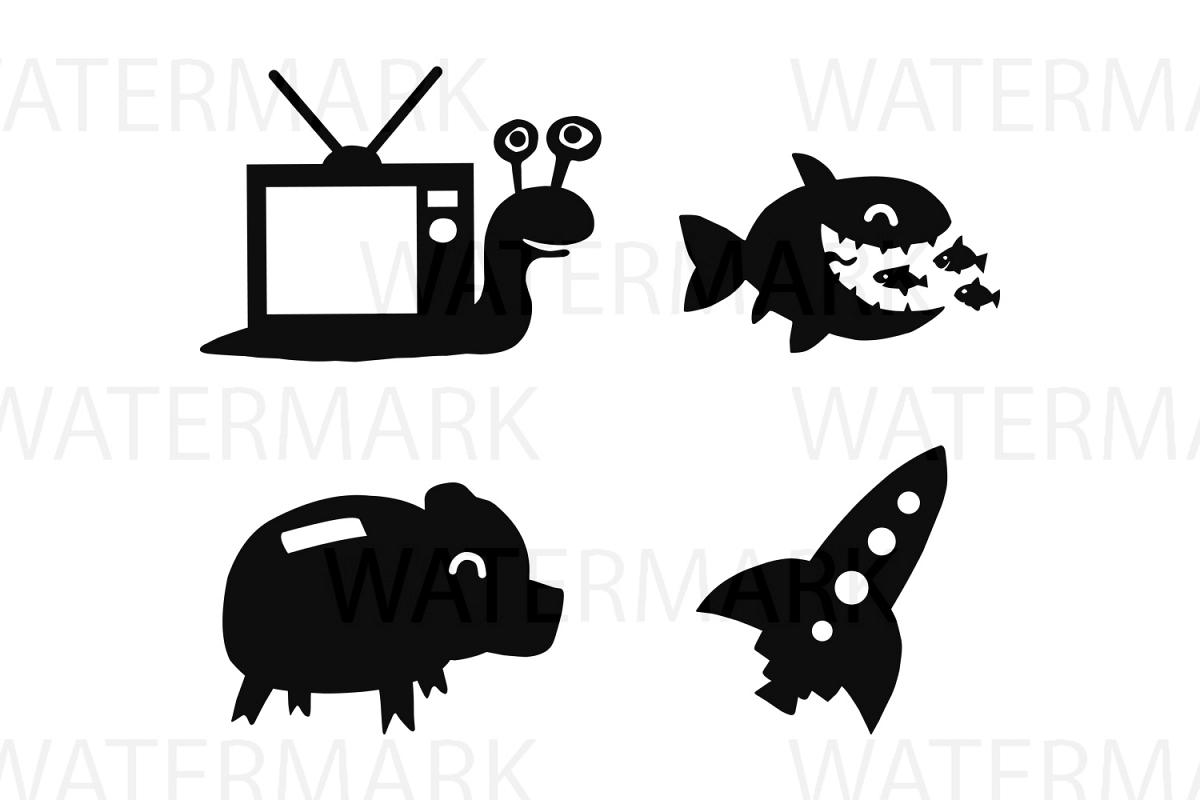 Elements of Snail TV, Big fish eating small fish, Pig money bank and Rocket Spaceship - SVG/JPG/PNG - Hand Drawing example image 1