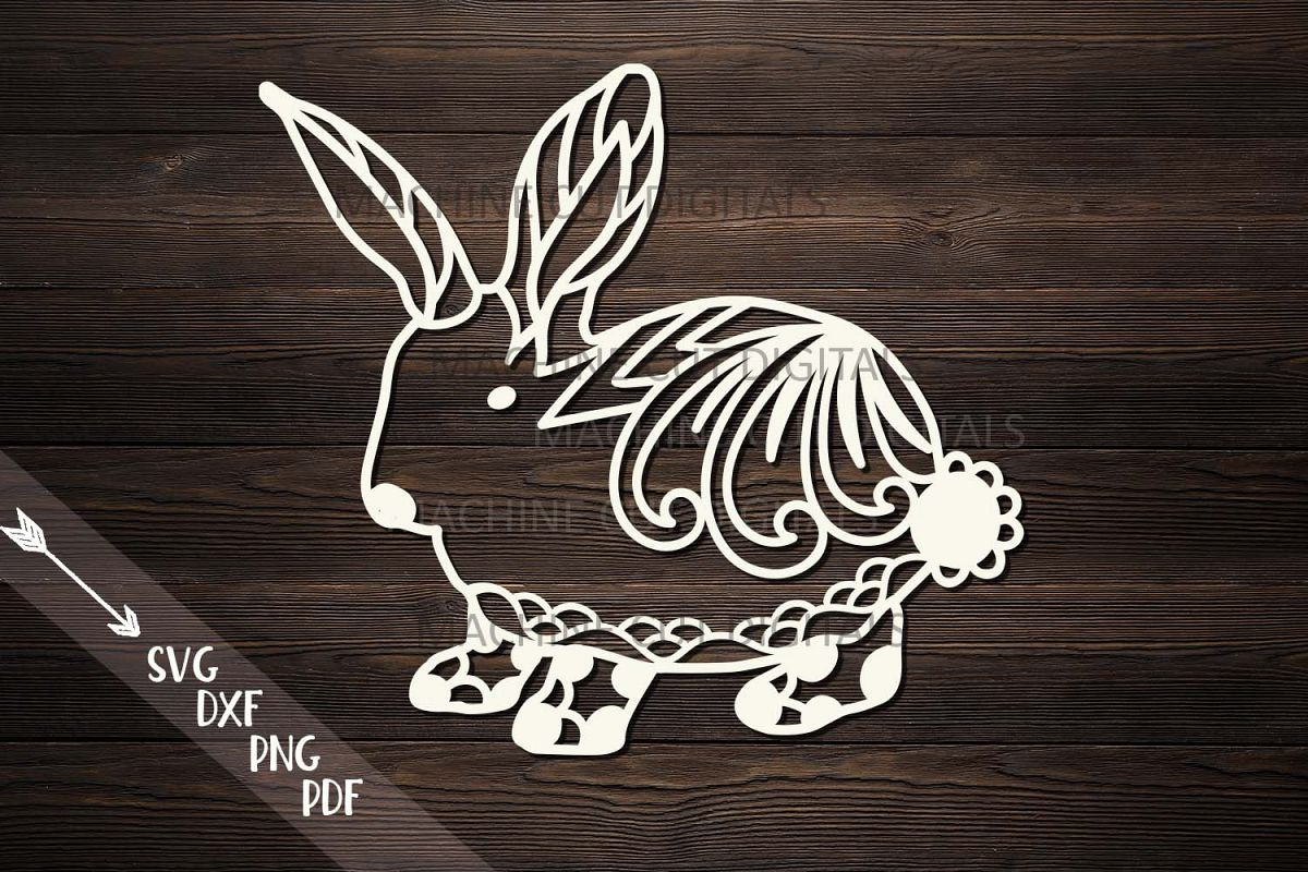 Floral Cute Easter bunny rabbit svg dxf file for machine cut example image 1