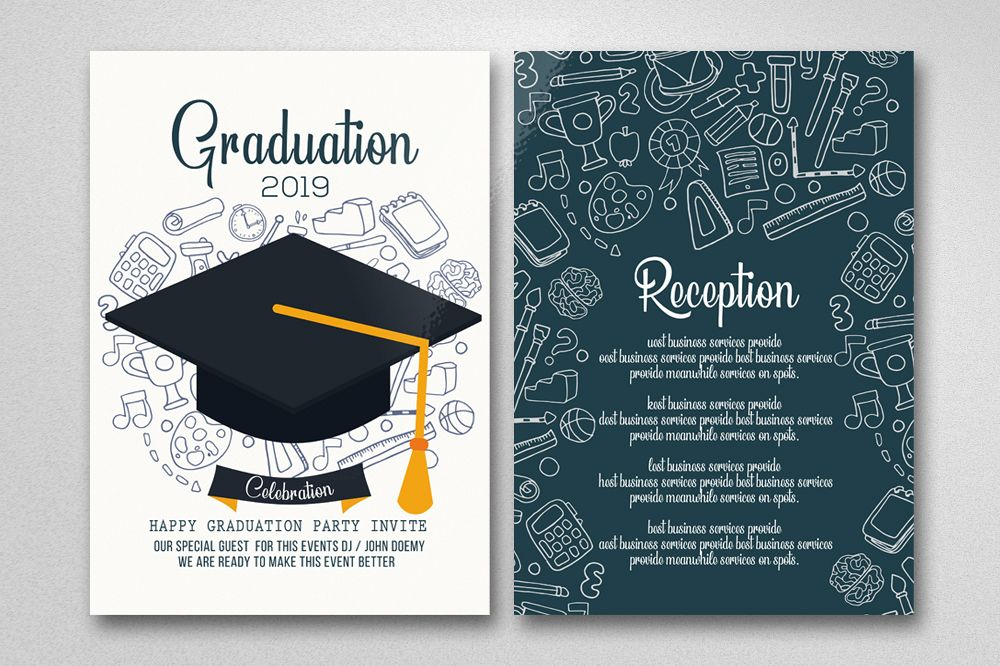 Two Sided Graduation Invitation Card