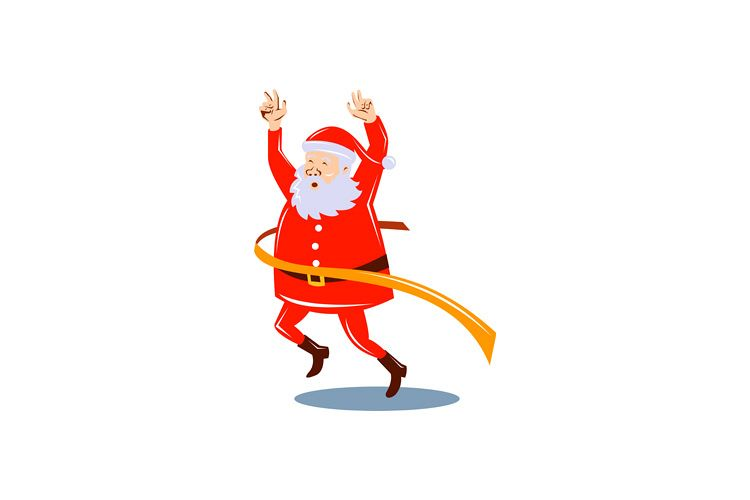 Father Christmas Cartoon Images.Father Christmas Santa Claus Running A Race