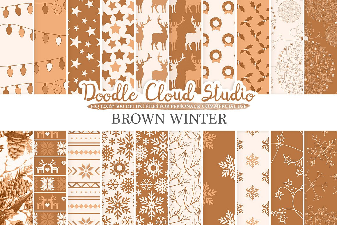 Brown Winter digital paper, Christmas Holiday patterns, Stars Snow deers X-mas backgrounds, Instant Download, for Personal & Commercial Use example image 1