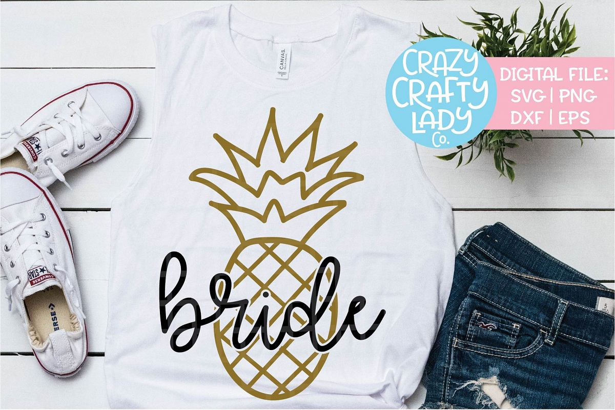 Pineapple Bride Wedding SVG DXF EPS PNG Cut File example image 1