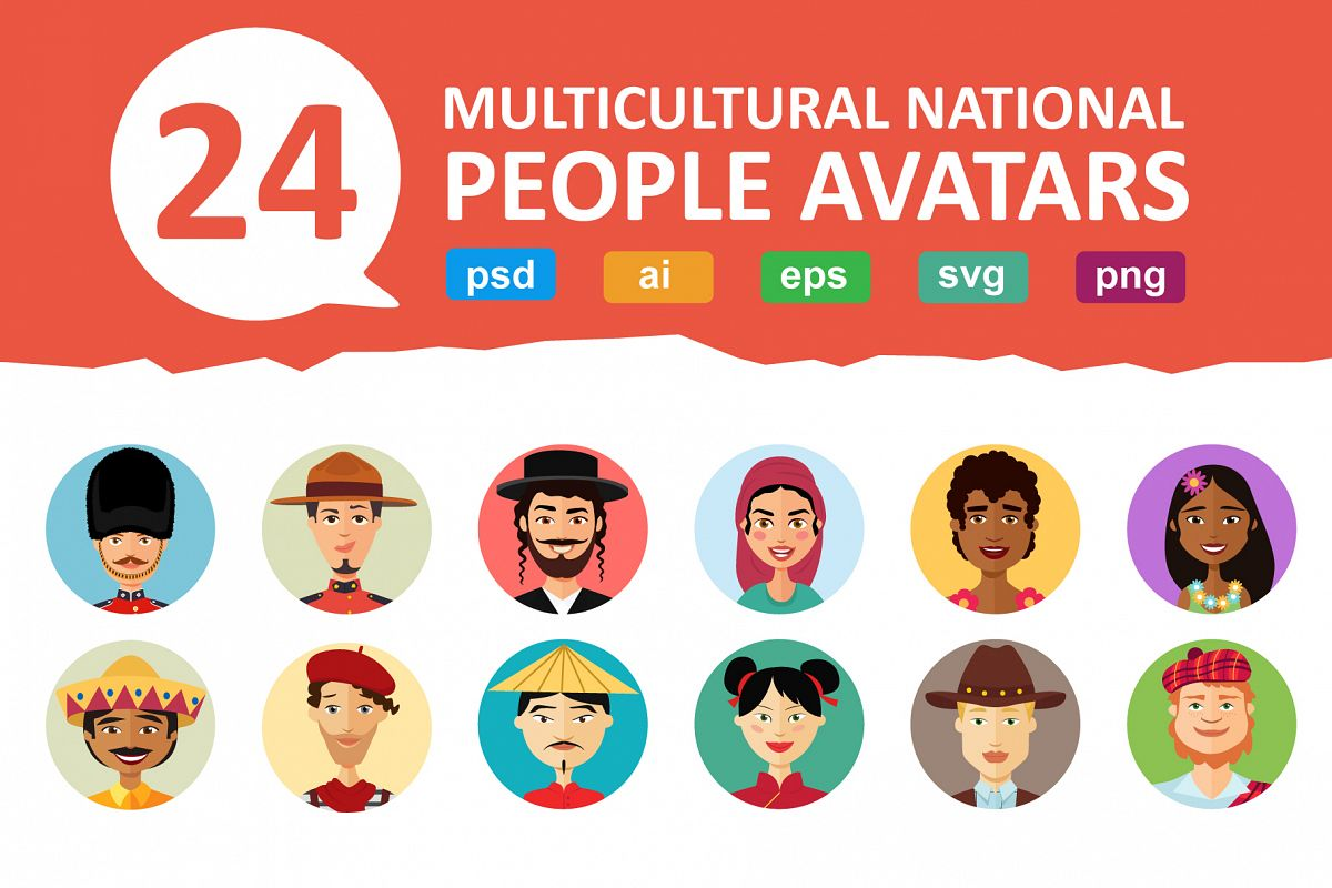24 Multicultural national avatars example image 1