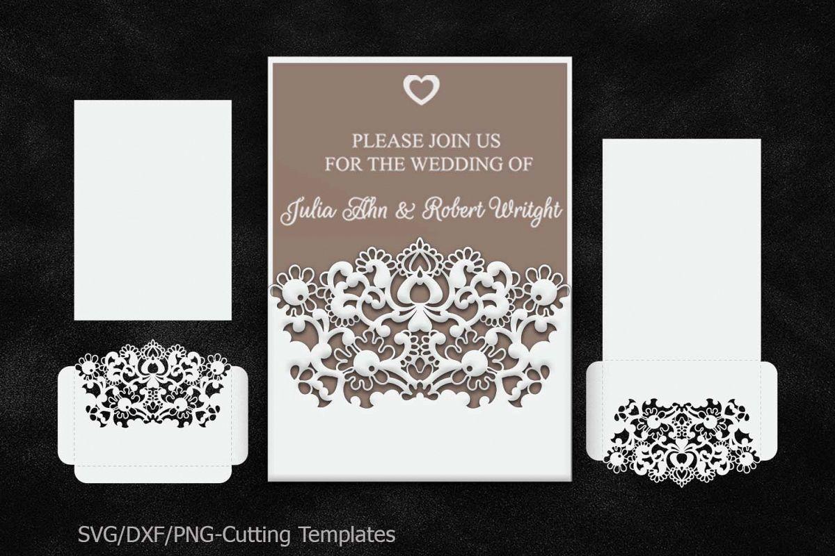 rustic wedding invitation pocket envelope 5x7 svg template