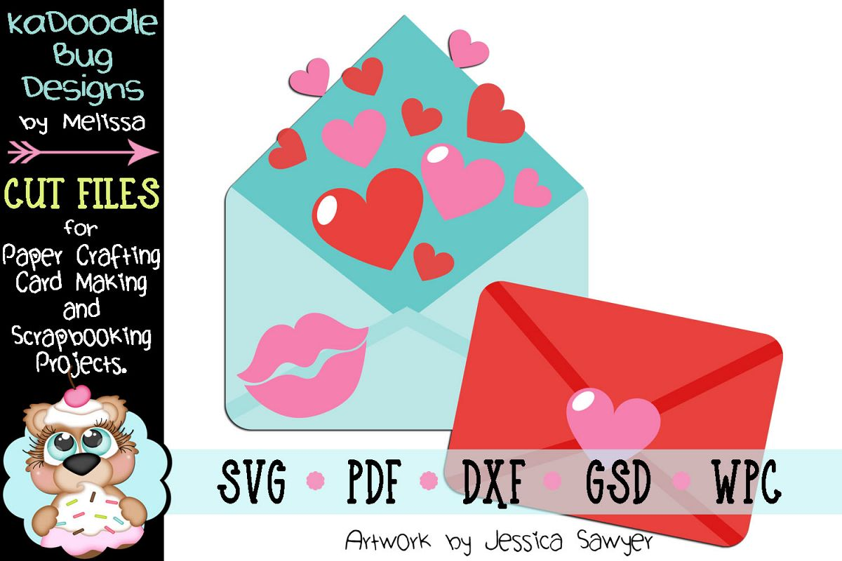 Valentine Love Letters Cut File - SVG PDF DXF GSD WPC example image 1
