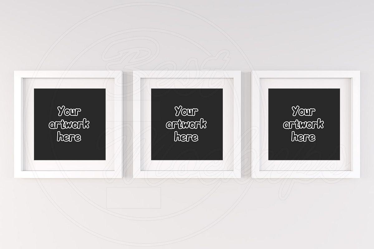 Set of 3 handing square frame mockup example image 1