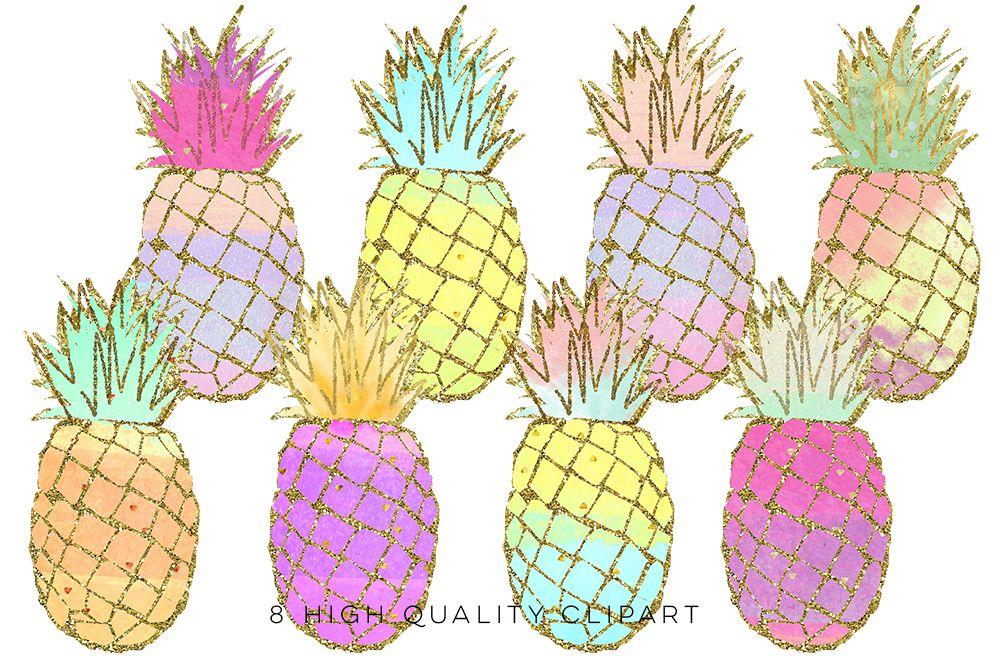 Pineapple summer. Clip art gold pineapples
