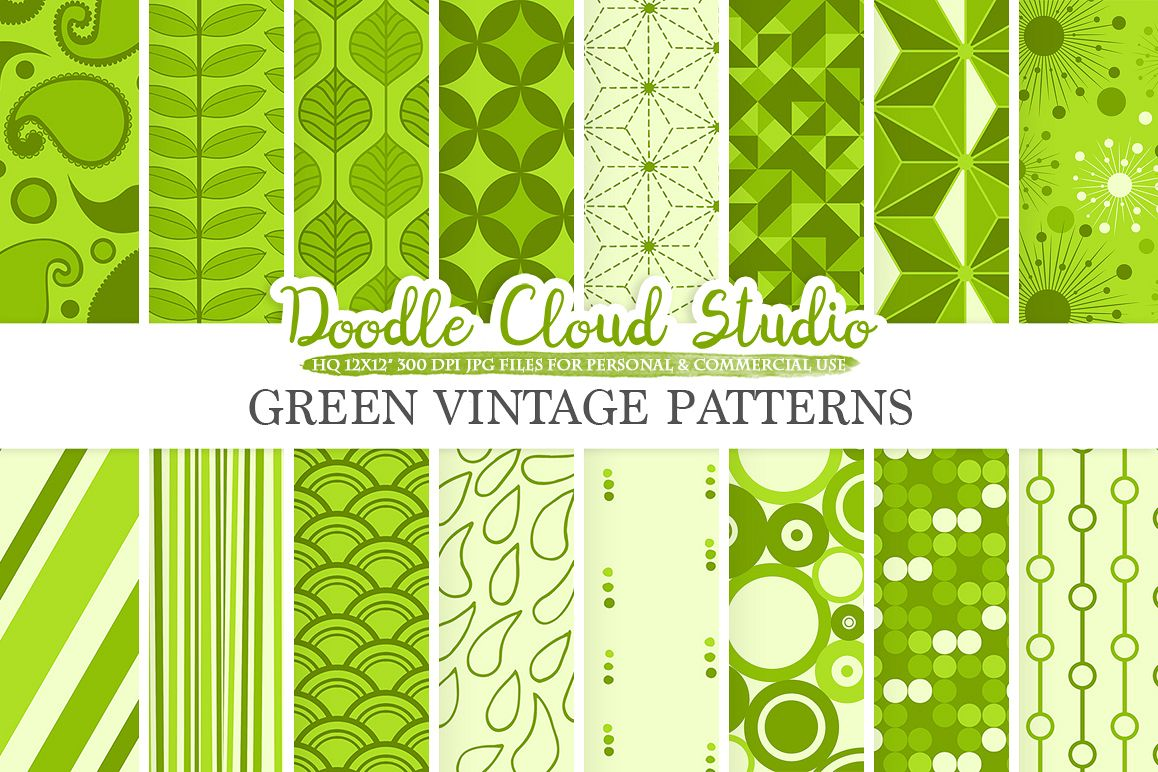 Green Retro digital paper, Geometric Vintage patterns, Green digital backgrounds, Instant Download, for Personal & Commercial Use example image 1