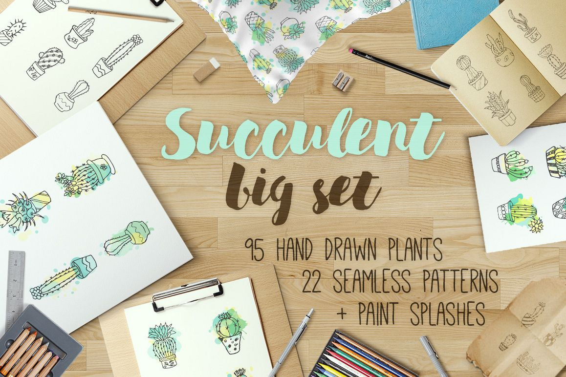 Succulent - Big hand drawn set with paint splashes example image 1