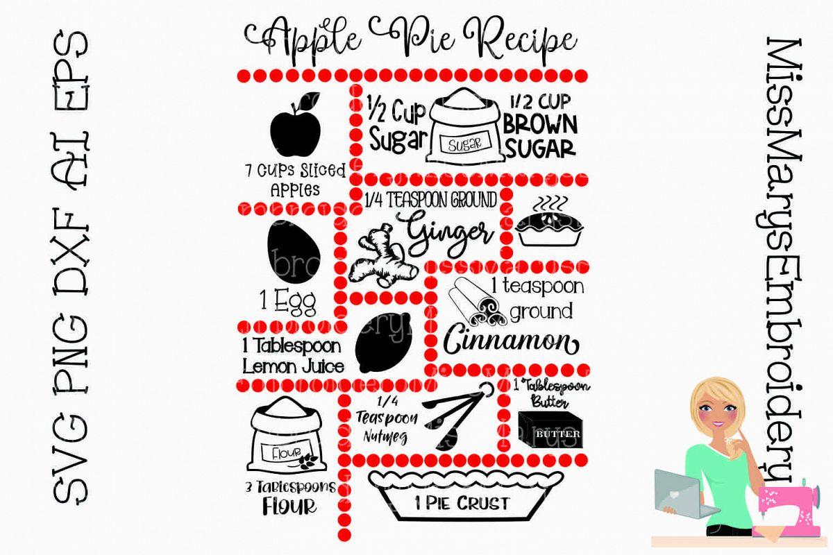 Apple Pie Recipe SVG Cut File example image 1