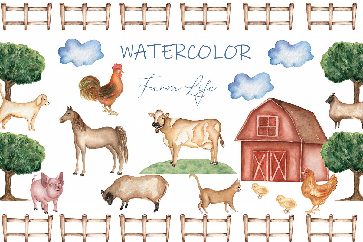 Watercolor Farm life example image 1