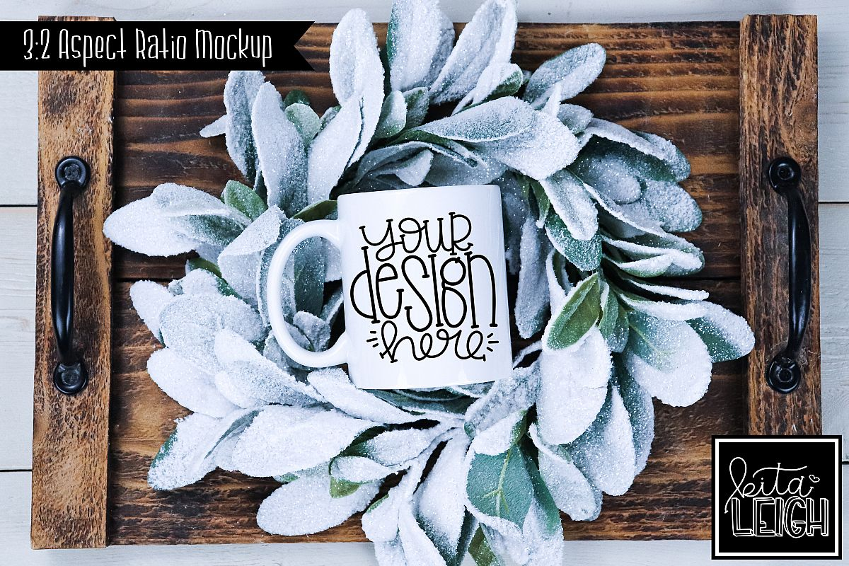 11 oz Mug Mockup with Snowy Wreath on Tray example image 1