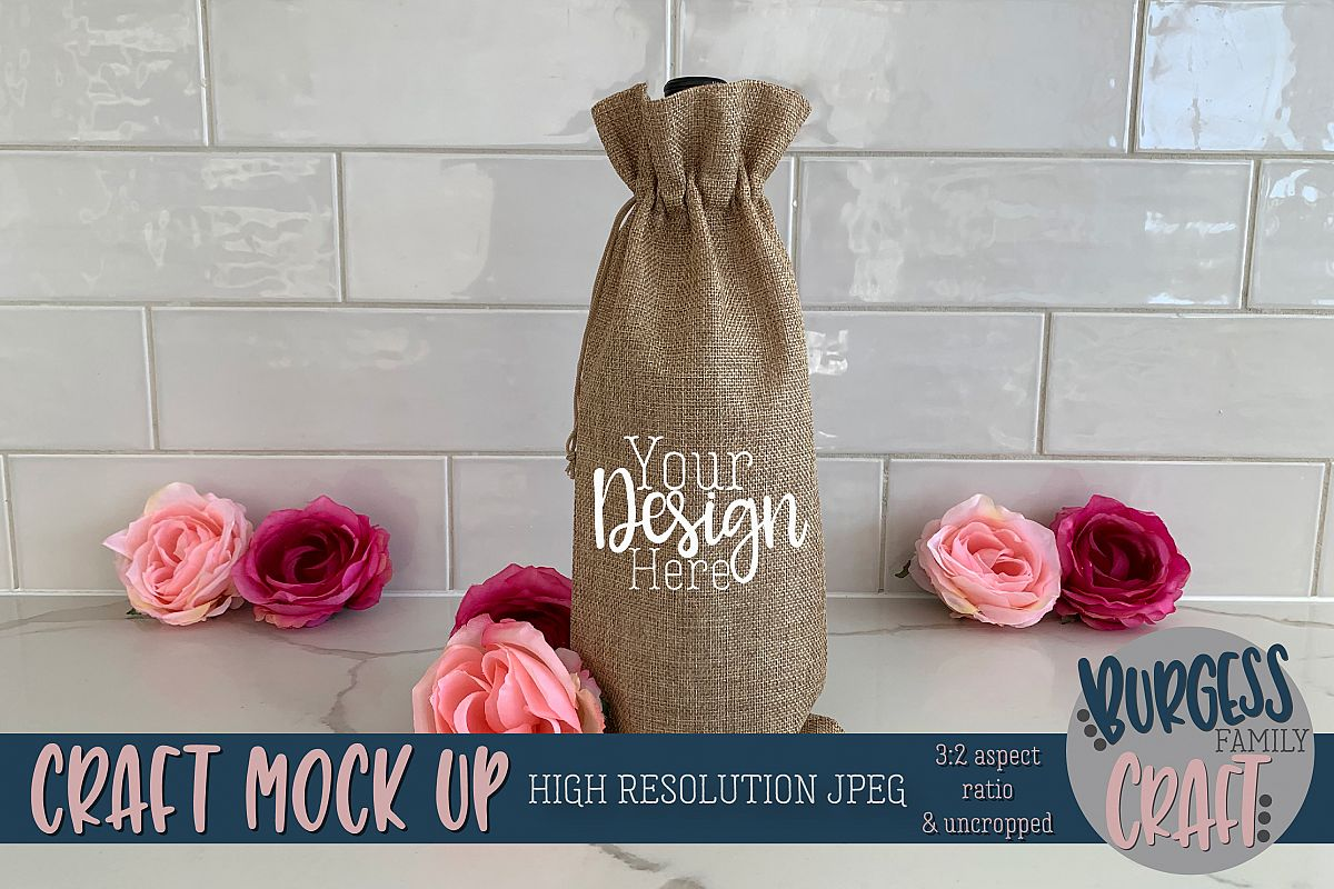 Wine bag w/flowers craft mock up |High Resolution JPEG example image 1