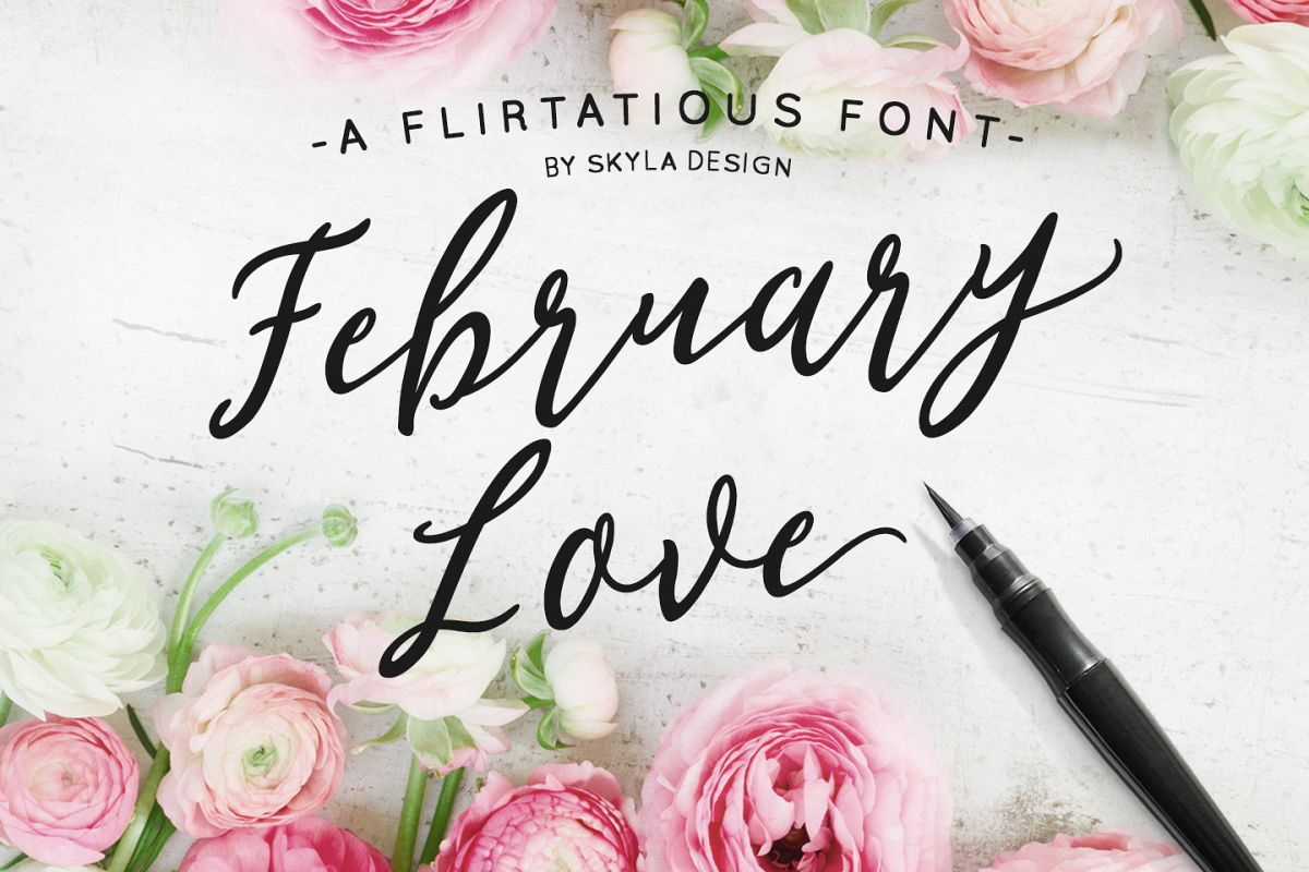 Romantic, flirty wedding font, February Love example image 1