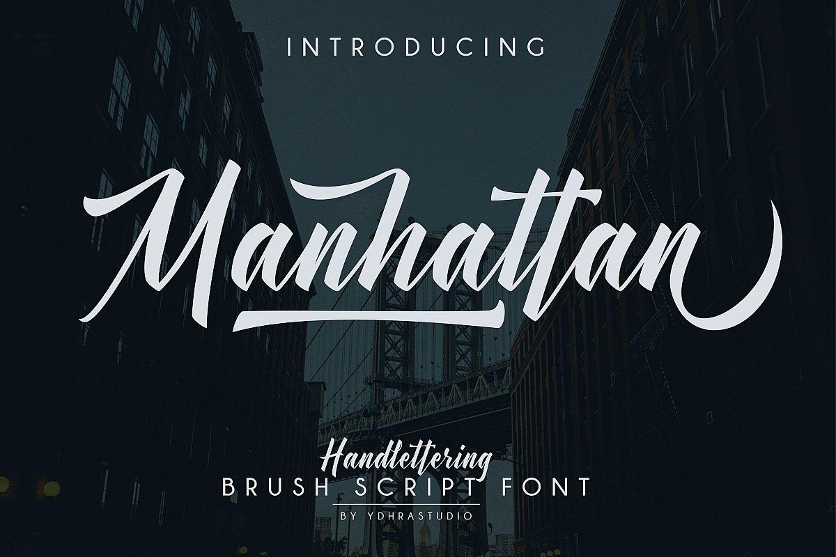 Manhattan Brush Script Font Swash example image 1