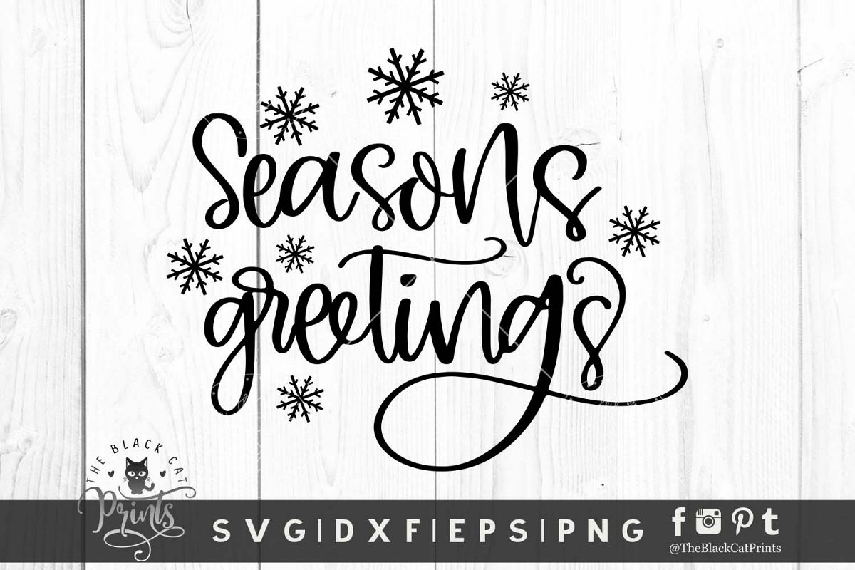Seasons Greetings SVG DXF EPS PNG Christmas Winter Cut files example image 1
