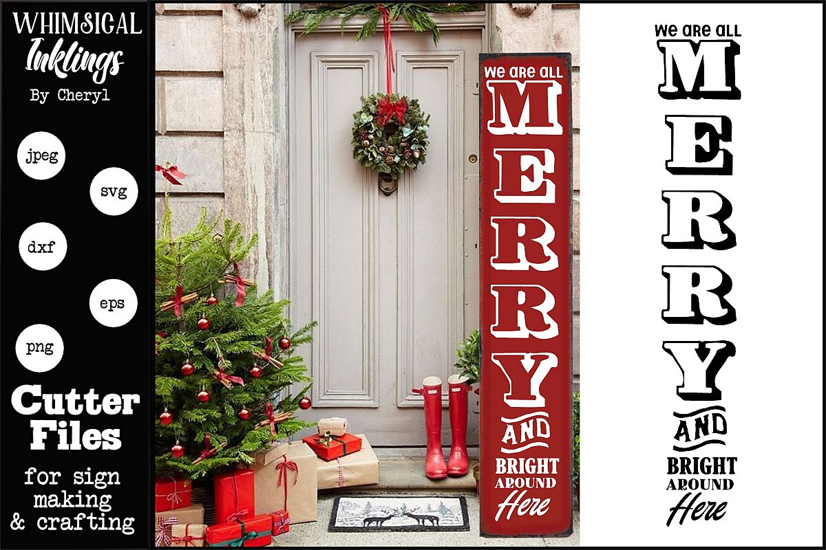 Merry And Bright Vertical Christmas-SVG example image 1