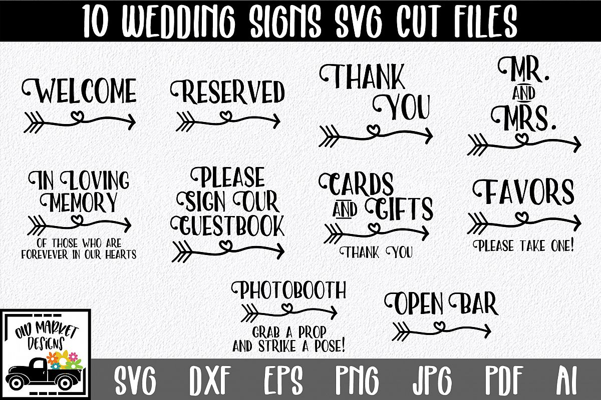 Wedding Signs SVG Cut Files example image 1