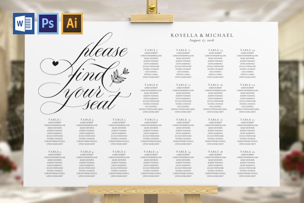 wedding seating chart sign, TOS_11 example image 1