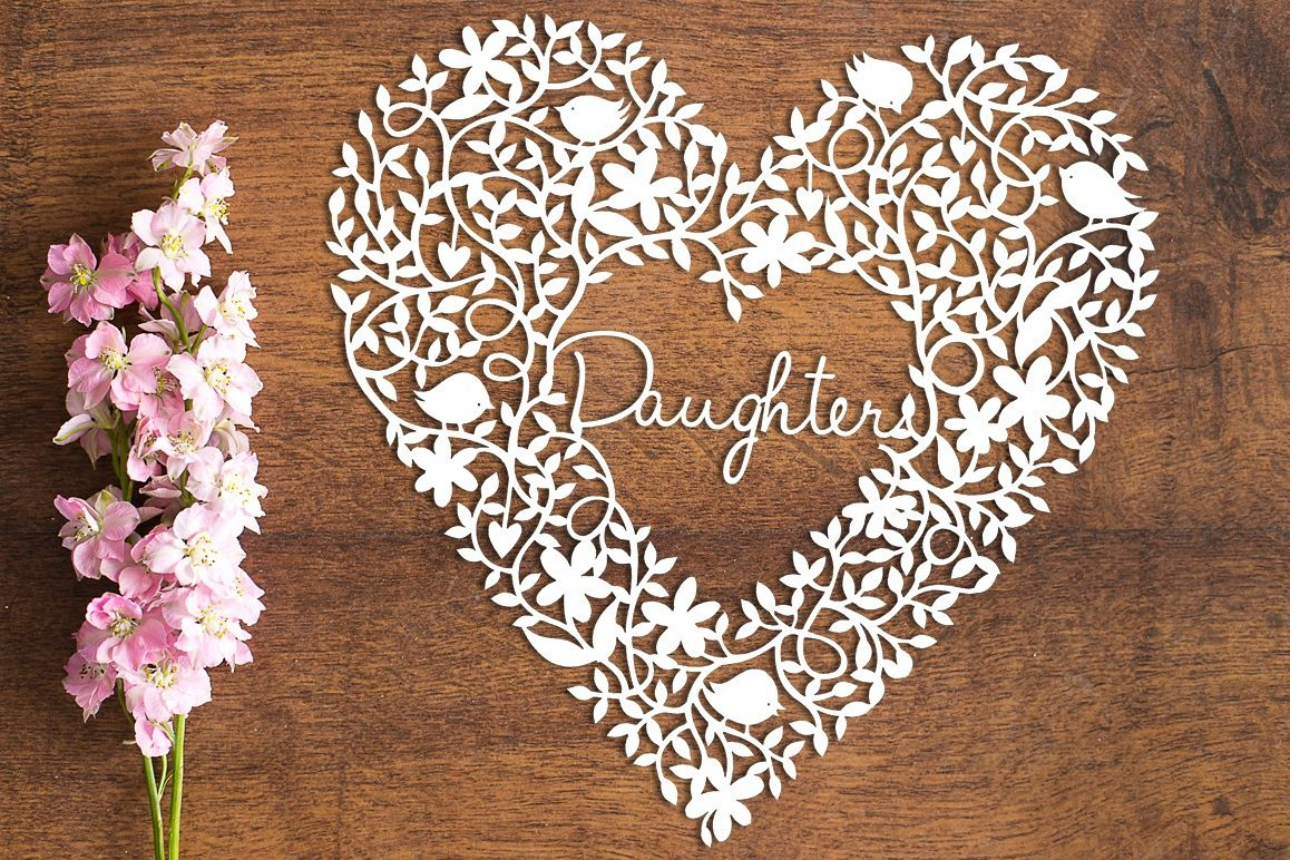 Daughter Heart - Paper Cutting Template example image 1