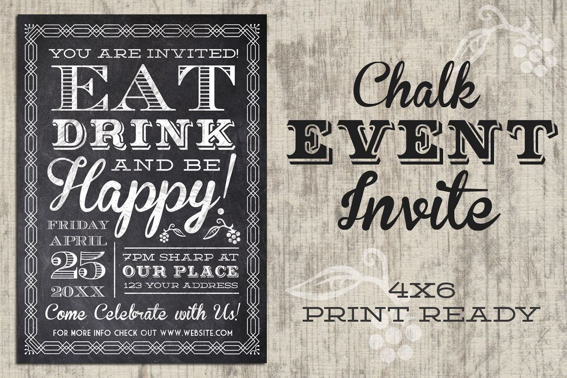 Eat Drink Be Happy Chalk Invite example image 1