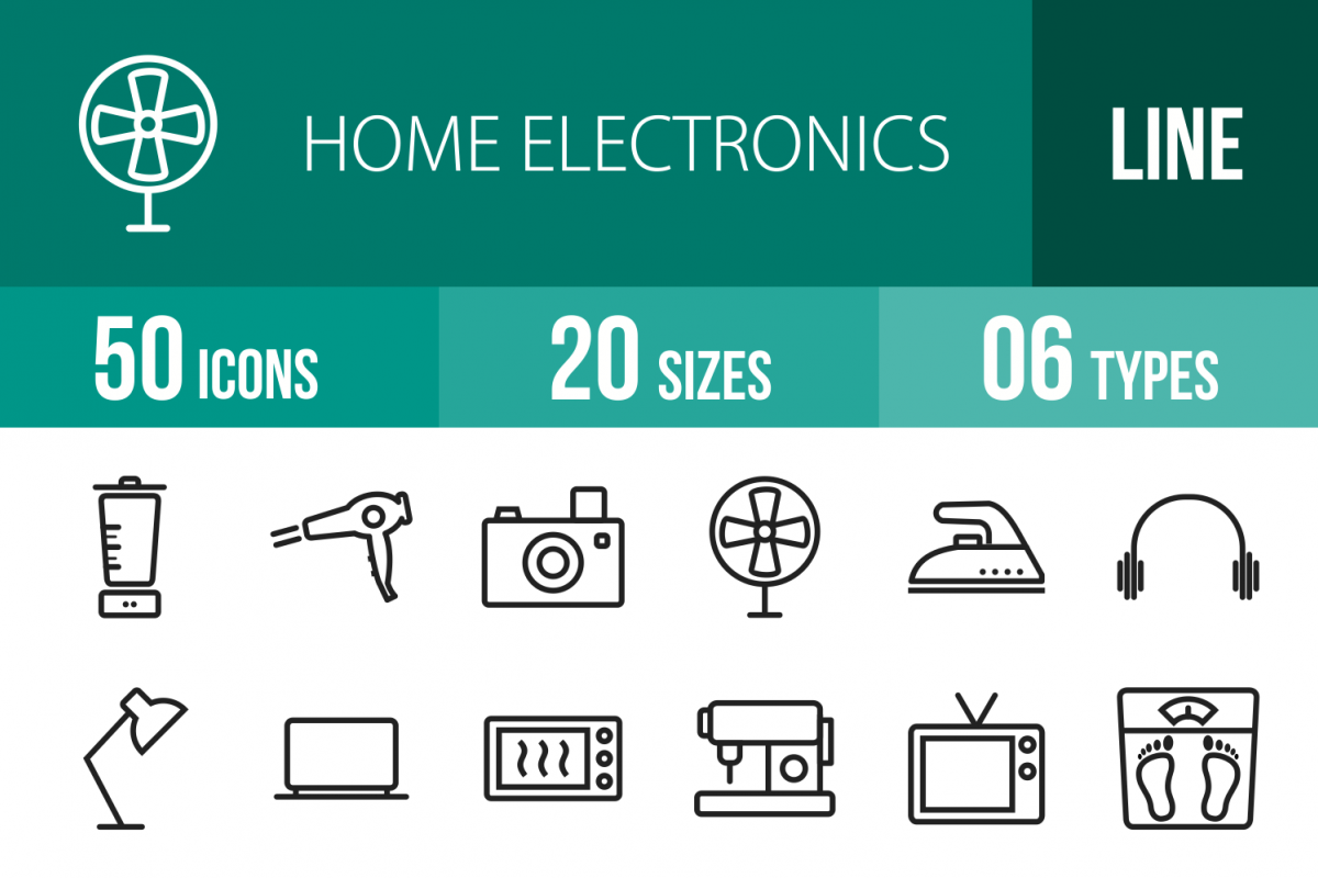 50 Home Electronics Line Icons example image 1