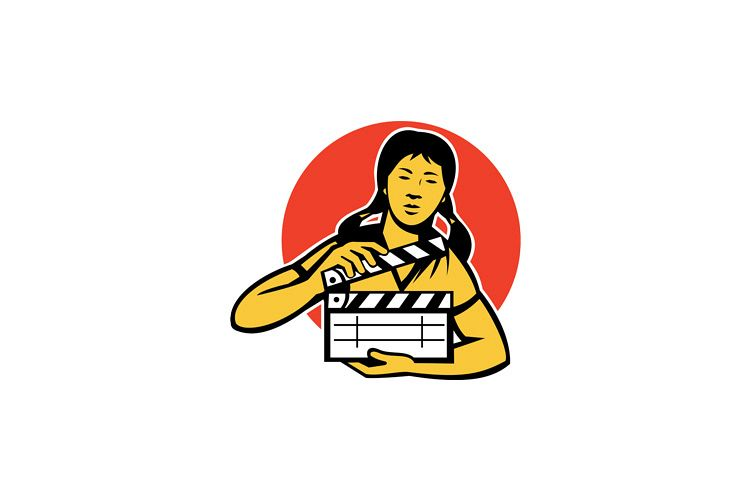 asiian woman girl with movie clapboard example image 1