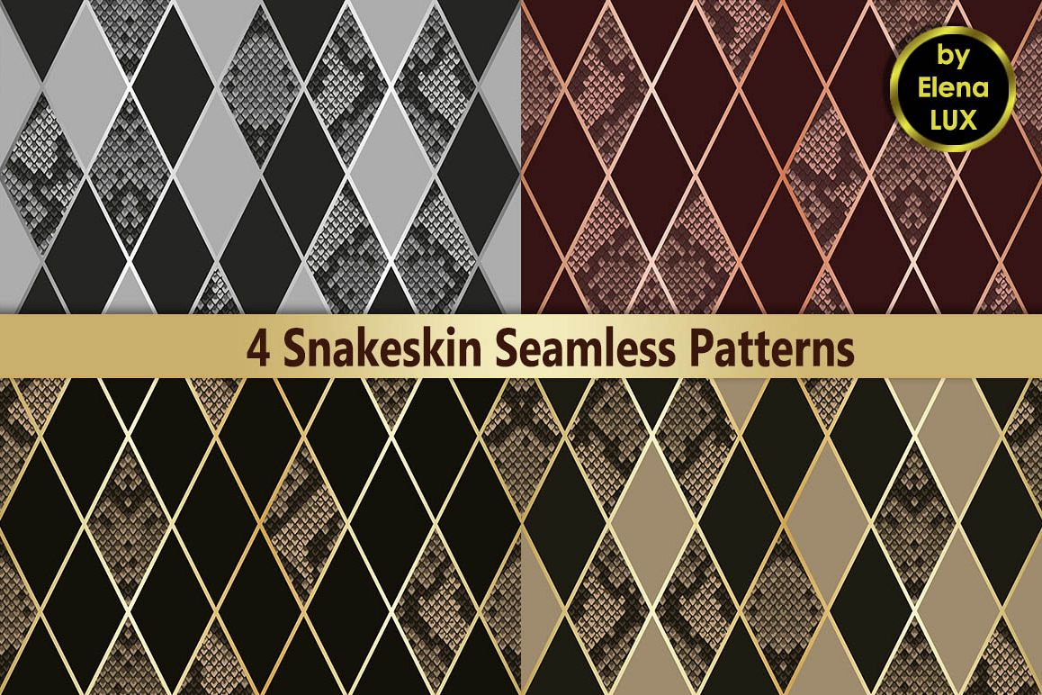 Snakeskin Seamless Patterns Set example image 1