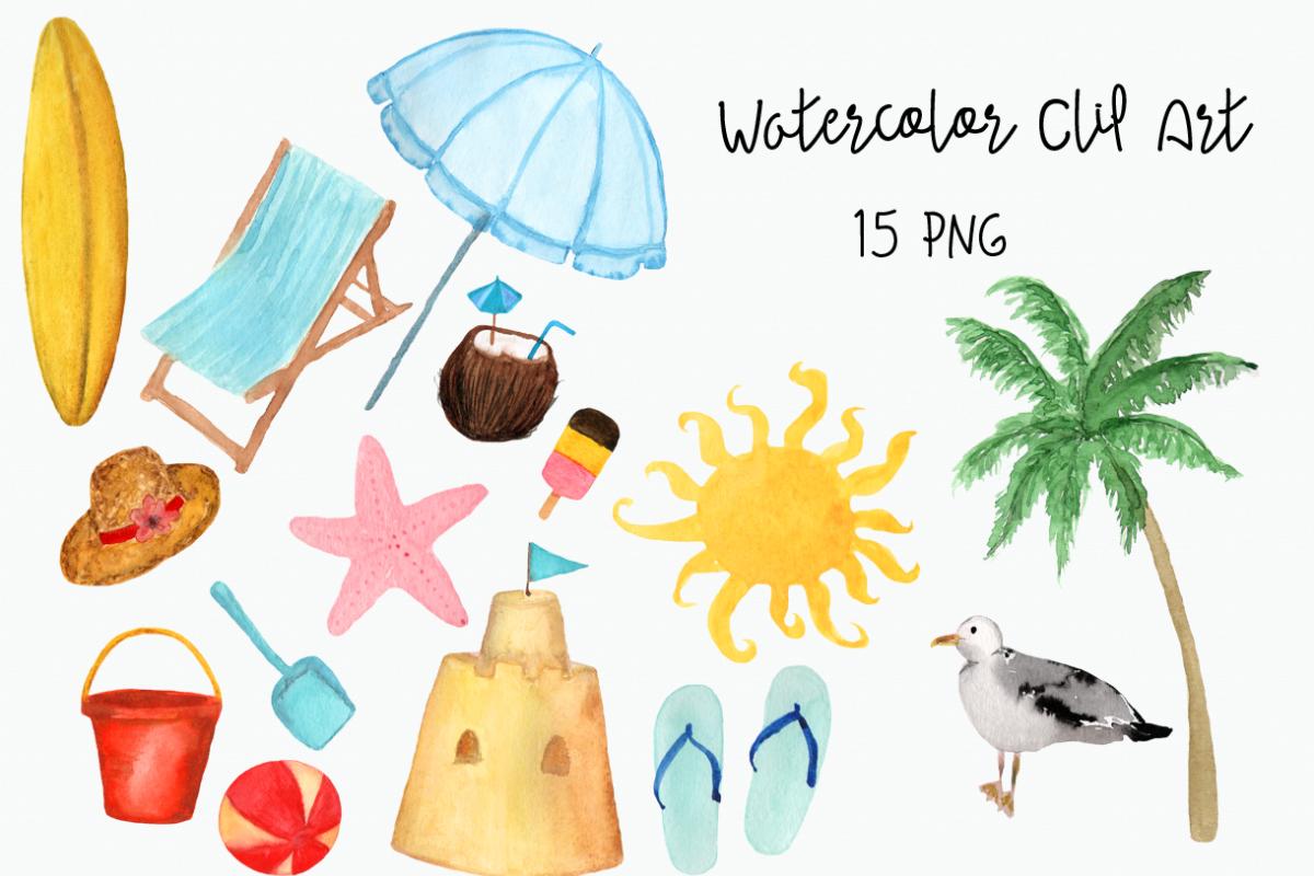 Watercolor Beach Clip Art example image 1