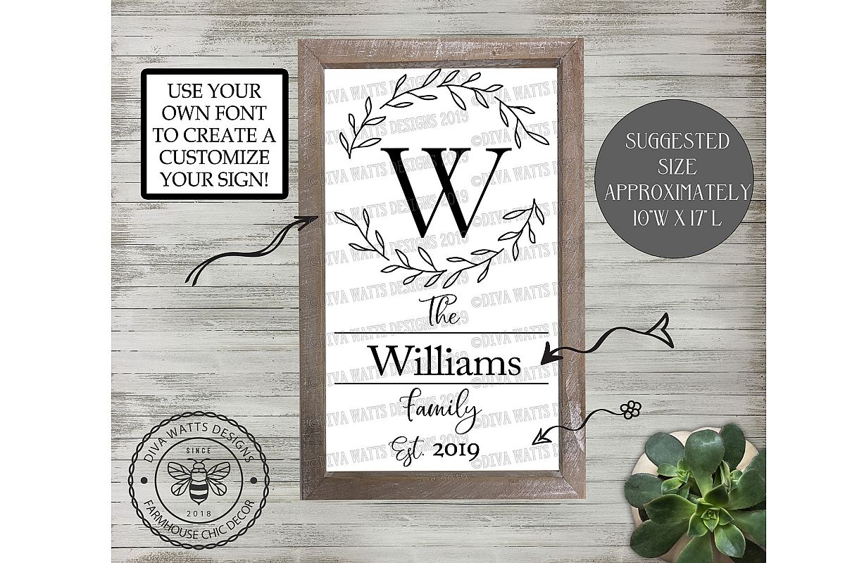 Family Monogram Wreath Personalize Your Sign Cutting File example image 1