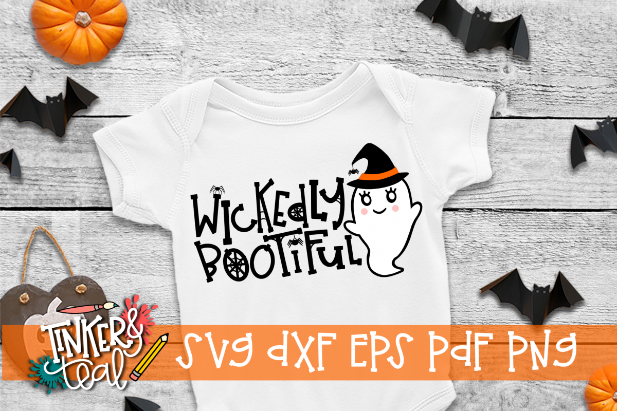 Wickedly Bootiful Ghost Halloween SVG example image 1