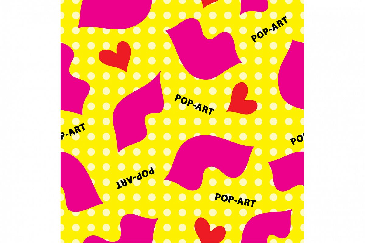 Decorative seamless background in style pop art. Print. Cloth design, wallpaper. example image 1