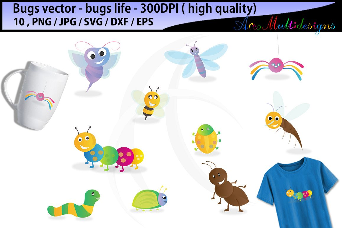 bugs SVG clipart / bugs / insects / insect clipart / cartoon bugs Baby Shower Bugs Clip art / cute bugs / instant download digital clip art example image 1