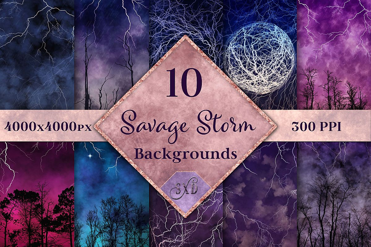 Savage Storm Backgrounds - 10 Image Textures Set example image 1