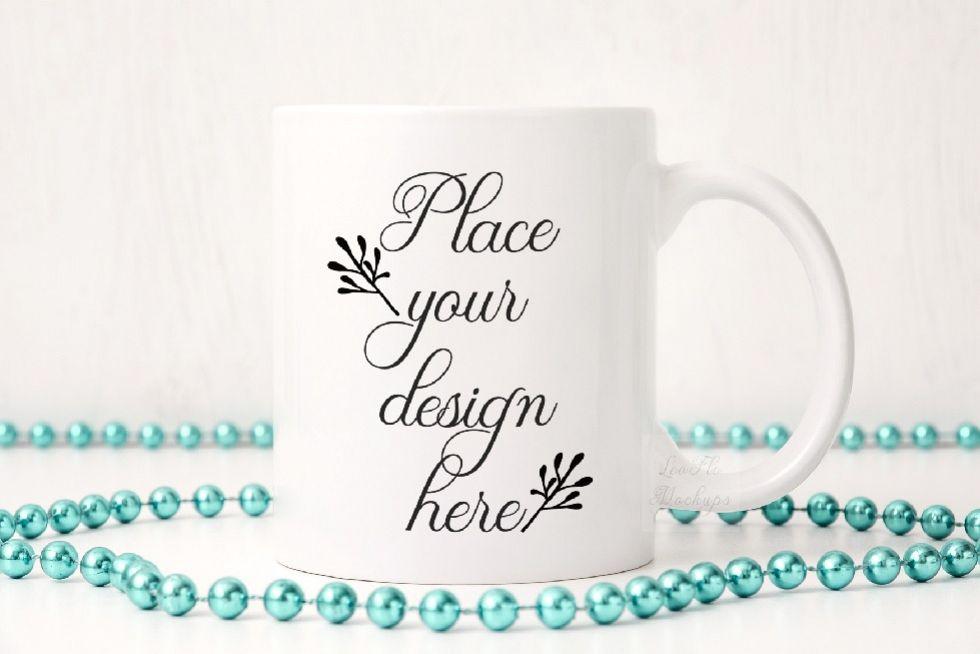 Party white coffee mug mock up sublimation 11oz cup mockup example image 1